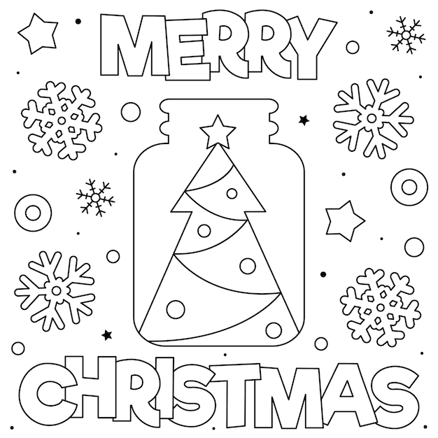Premium Vector Merry Christmas Coloring Page