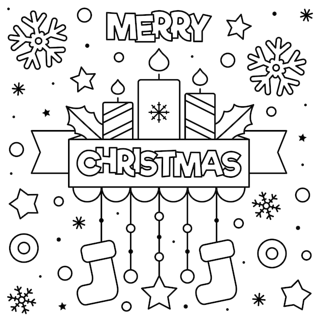 - Premium Vector Merry Christmas. Coloring Page.
