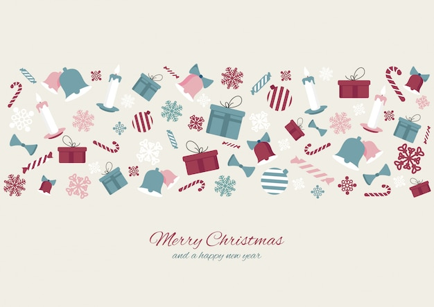 Merry christmas colourful element Premium Vector