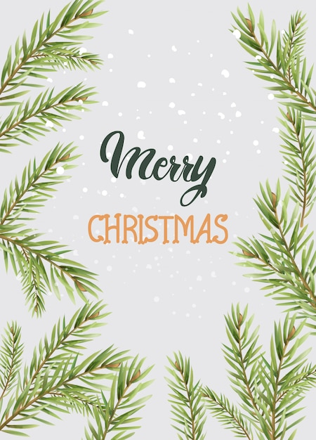 Merry christmas composition with conifer tree leaves Premium Vector
