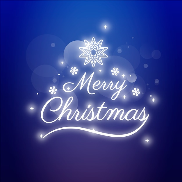 Merry christmas concept with neon design Free Vector