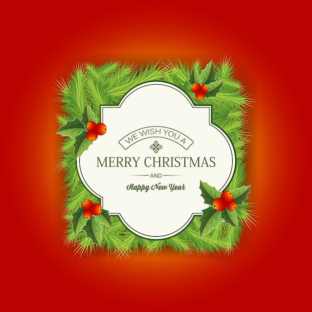 赤の挨拶とメリークリスマス針葉樹カード 無料ベクター