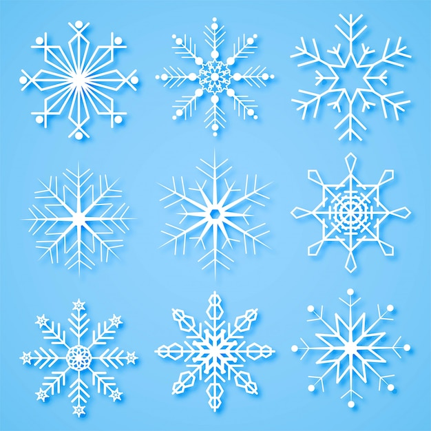 Merry christmas creative snowflakes set background Free Vector