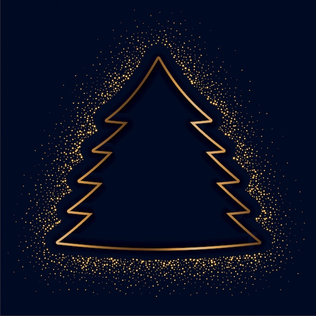 Merry christmas creative tree made with golden sparkles Free Vector