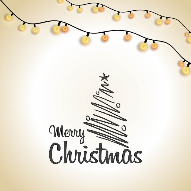 Merry christmas creative typography lighting background Free Vector