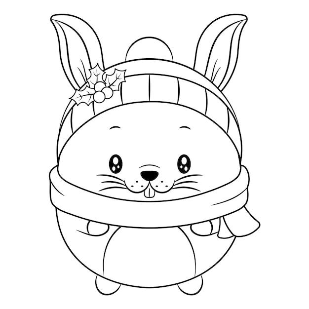 ベリーで着色するためのメリークリスマスかわいい動物の描画スケッチ Premiumベクター