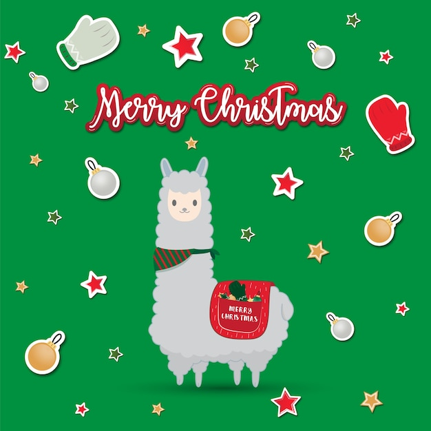 merry christmas cute cartoon handrawn alpaca premium vector