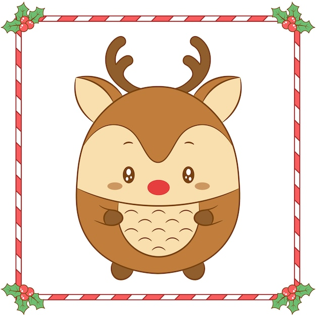 Merry christmas cute coloring reindeer drawing with red nose Premium Vector