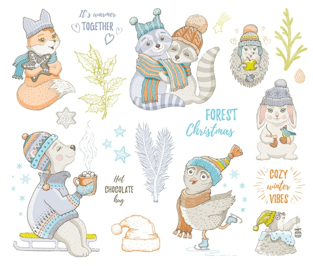 メリークリスマスかわいい森の動物、キツネ、フクロウ、アライグマ、クマ、ハリネズミ。手描き落書きセット。漫画のクリスマス&明けましておめでとうございます。 Premiumベクター