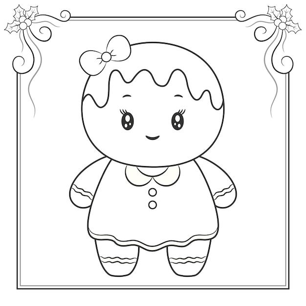 メリークリスマスかわいい生姜クッキーぬりえスケッチ Premiumベクター