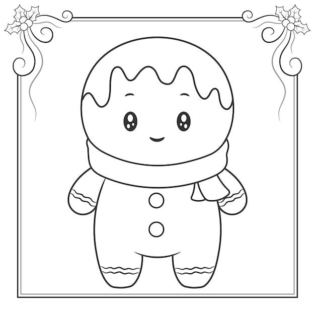 メリークリスマスかわいい生姜クッキーのスケッチを着色するためのスカーフ Premiumベクター