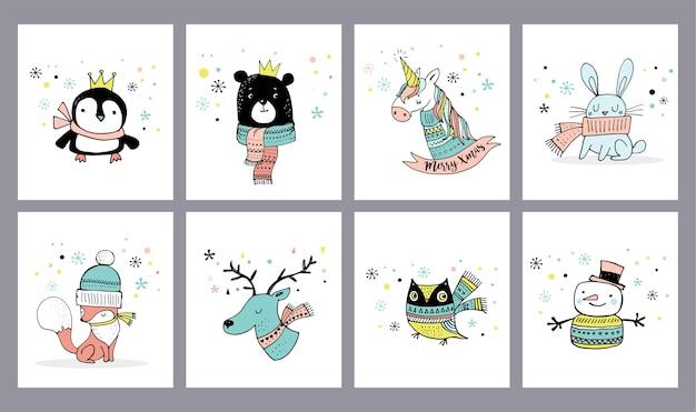 메리 크리스마스 귀여운 인사말 카드, 스티커, 삽화. 펭귄, 곰, 올빼미, 사슴, 유니콘 프리미엄 벡터