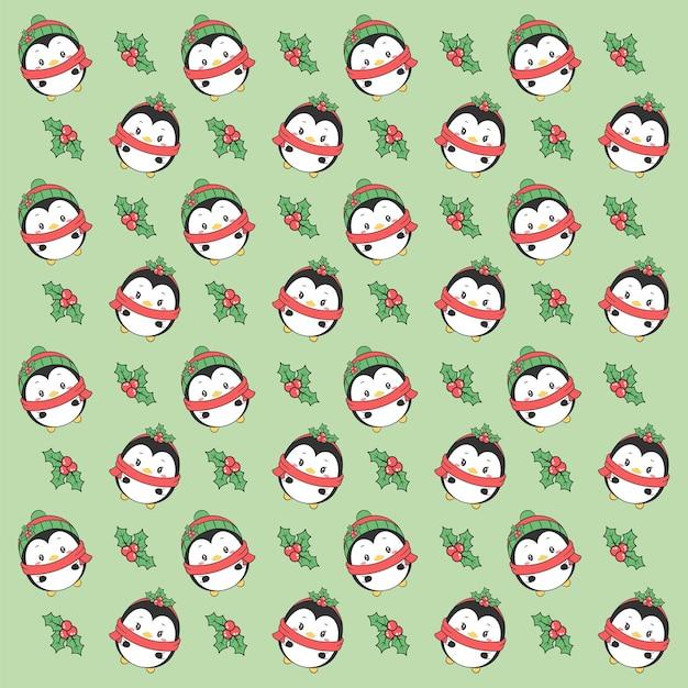 메리 크리스마스 귀여운 펭귄 그리기 패턴 배경 선물 포장 프리미엄 벡터