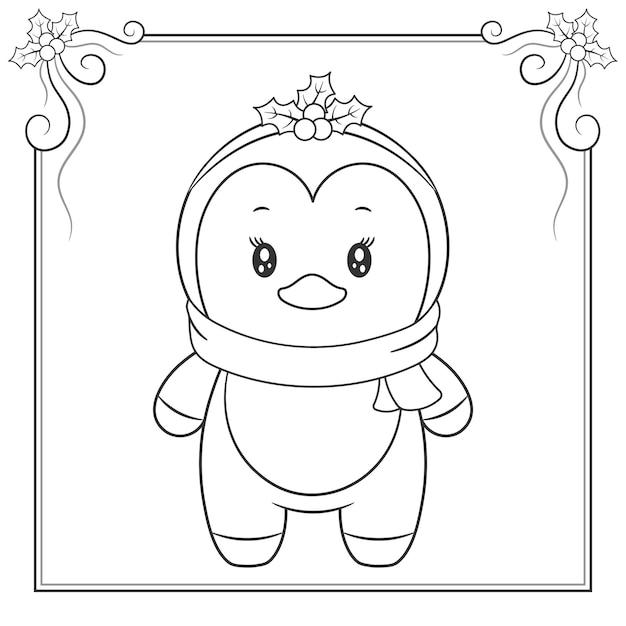 メリークリスマスかわいいペンギンぬりえスケッチ Premiumベクター