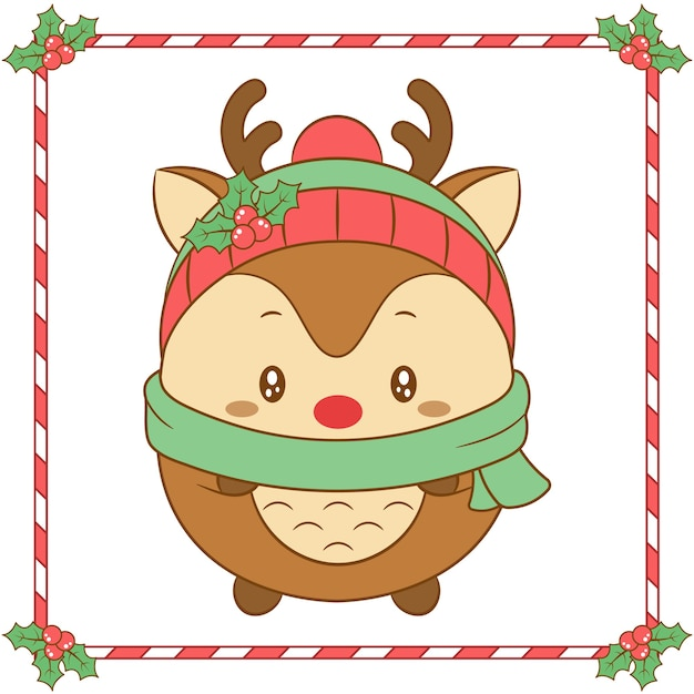 Merry christmas cute reindeer drawing with christmas berry hat and green scarf for winter season Premium Vector