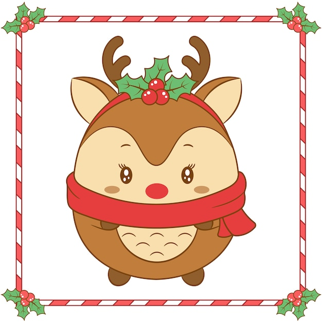 Merry christmas cute reindeer drawing with christmas berry and red scarf for winter season Premium Vector