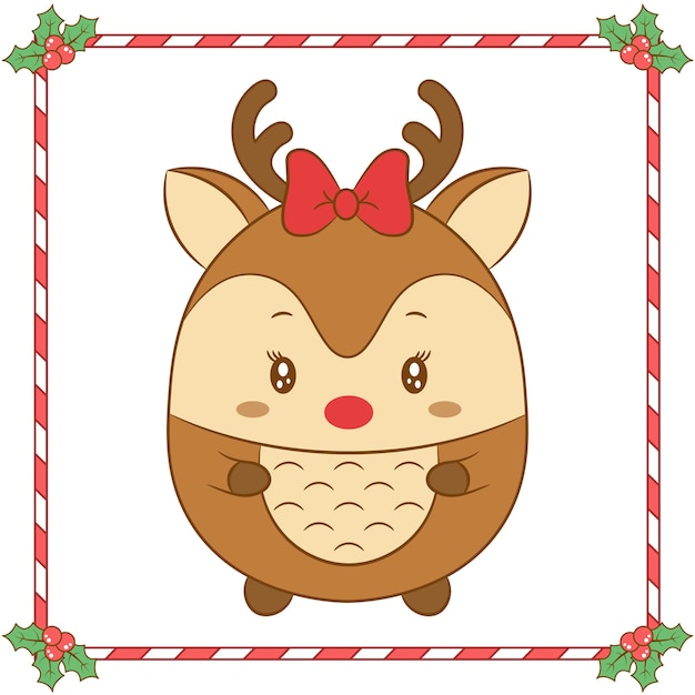 Merry christmas cute reindeer drawing with red bow Premium Vector