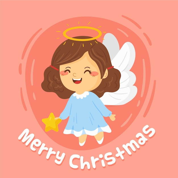 Merry christmas cute woman angel with wings Free Vector