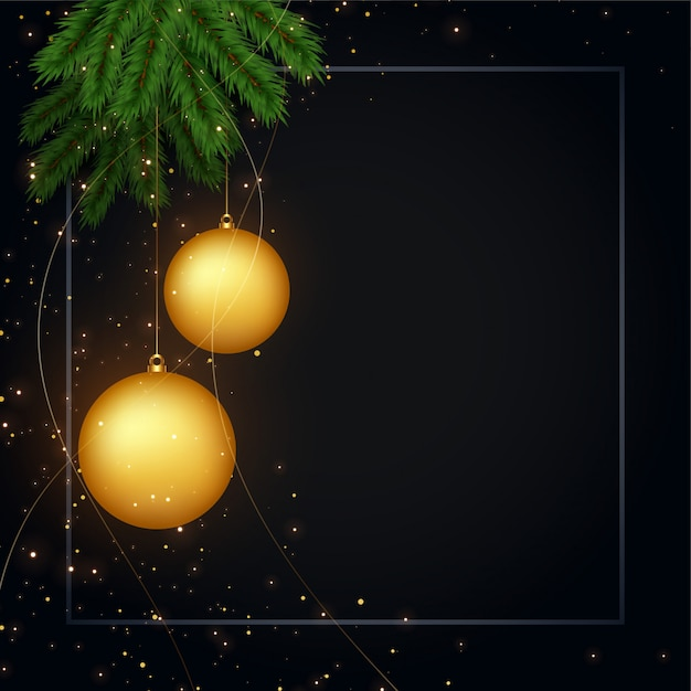 Merry christmas dark black background with text space Free Vector