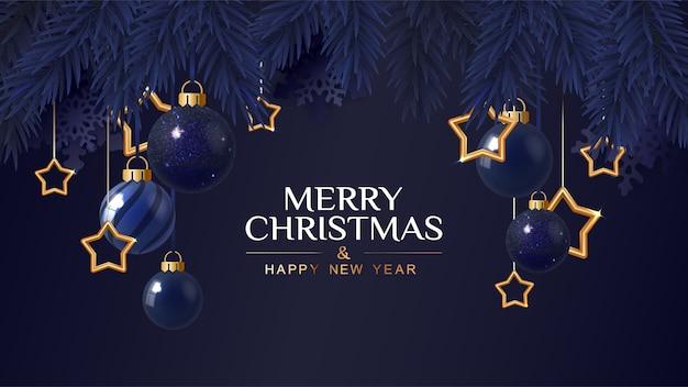 金色の星とメリークリスマスダークブルーのバナー。クリスマスカード。ベクトルイラスト。 Premiumベクター