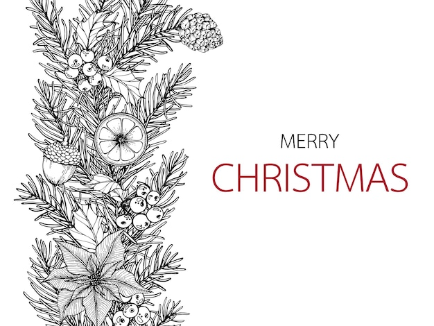 Christmas Day Drawing Images.Merry Christmas Day Backgroungs With Line Art Drawing