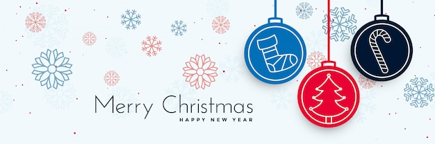 Merry christmas decorative banner with xmas elements Free Vector