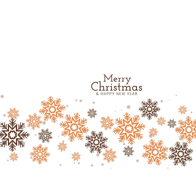 Merry christmas decorative flowing snowflakes Free Vector
