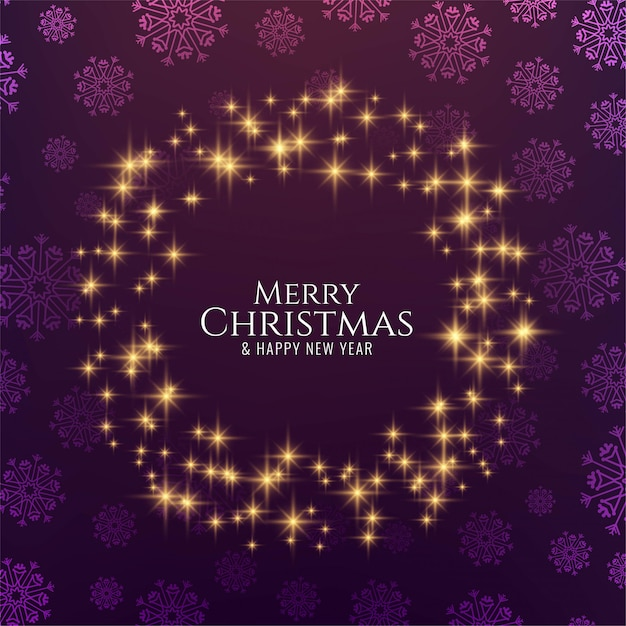 Merry christmas decorative glowing stars Free Vector