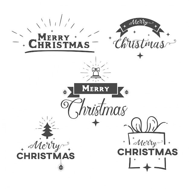 メリークリスマス装飾テキストセット Premiumベクター