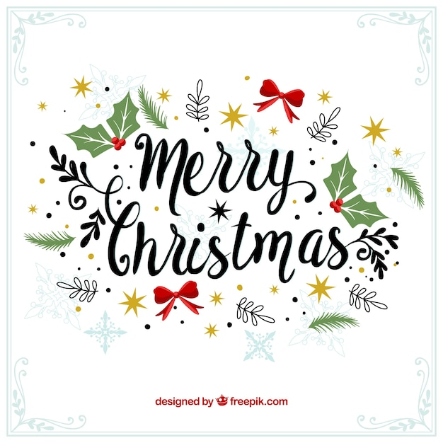 merry christmas decorative vintage background free vector - Merry Merry Merry Christmas