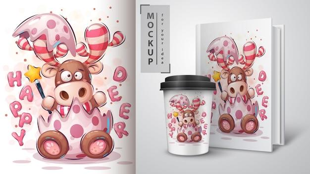 Merry christmas deer poster and merchandising Premium Vector