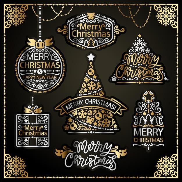 Merry christmas design labels golden set Premium Vector