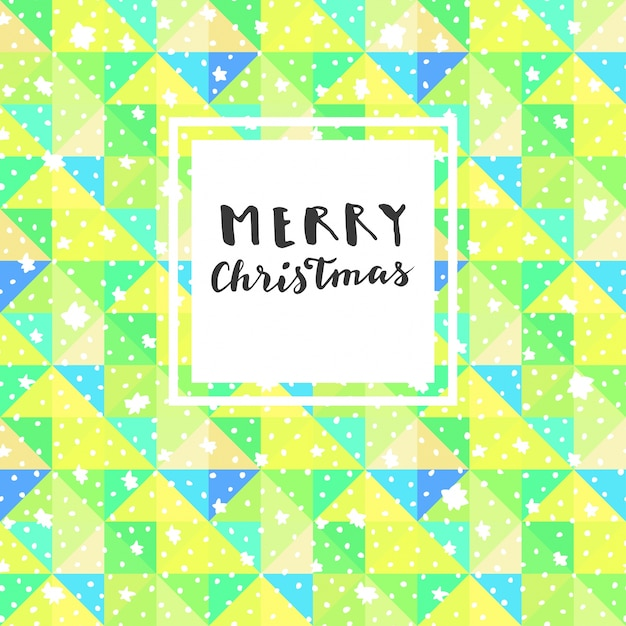 Merry Christmas design on seamless triangular background with snow