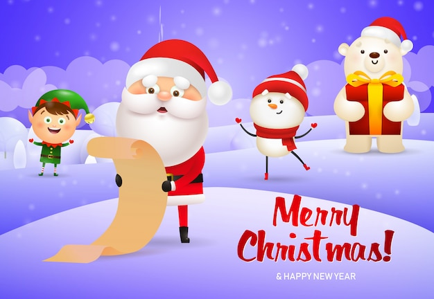 Merry christmas design of santa claus with scroll, elf, snowman Free Vector