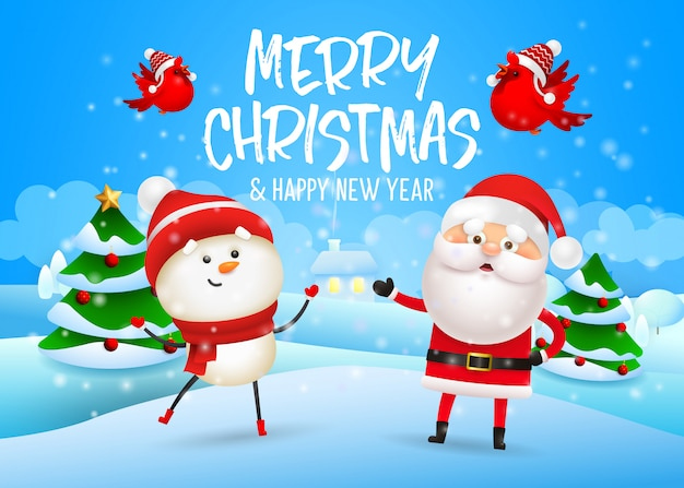 Merry christmas design with snowman and santa claus Free Vector