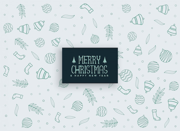 Merry christmas elements pattern background Free Vector