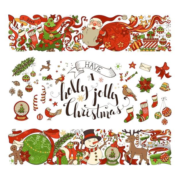 메리 크리스마스 요소. 두 개의 수평 크리스마스 장식의 집합입니다. 프리미엄 벡터