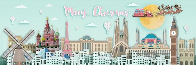 Merry christmas europe Premium Vector
