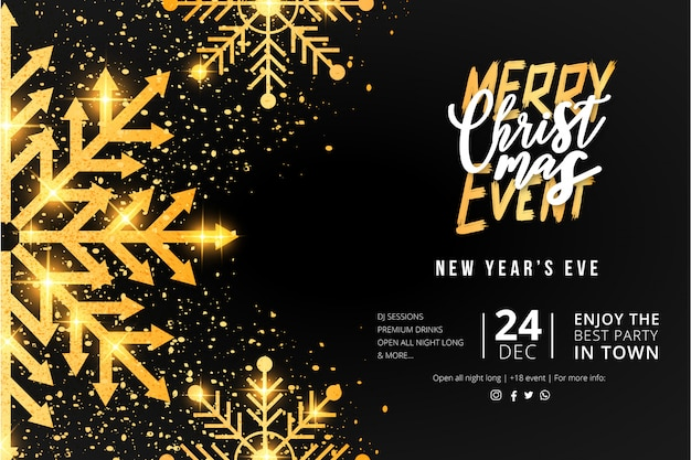 Merry christmas event poster template Free Vector