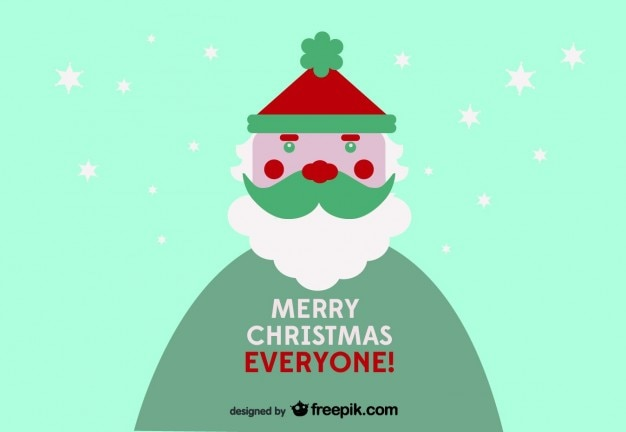 Merry Christmas Everyone postcard Vector | Free Download