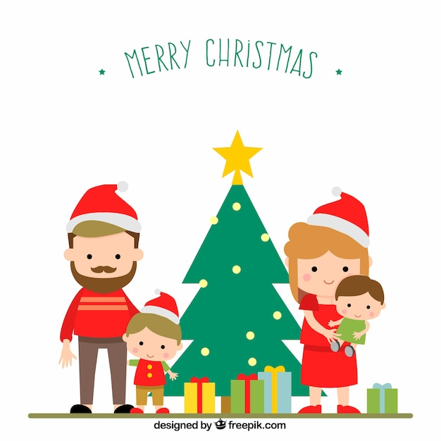 Merry christmas family scene Free Vector