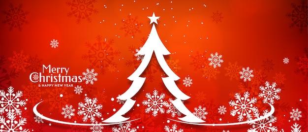 Счастливого рождества фестиваль баннер дизайн с блеском дерево вектор Бесплатные векторы