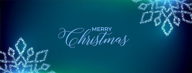 きらめく雪とメリークリスマスフェスティバルのバナー 無料ベクター