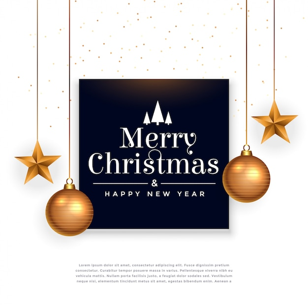 Merry christmas festival beautiful background with ball and star Free Vector