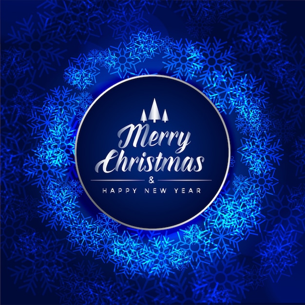 Merry christmas festival blue card made with snowflakes Free Vector