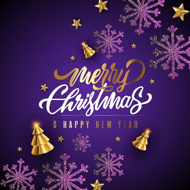 Счастливого рождества фестиваль декоративный фиолетовый фон Premium векторы
