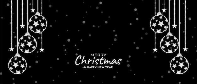 Счастливого рождества фестиваль элегантный декоративный баннер вектор Бесплатные векторы