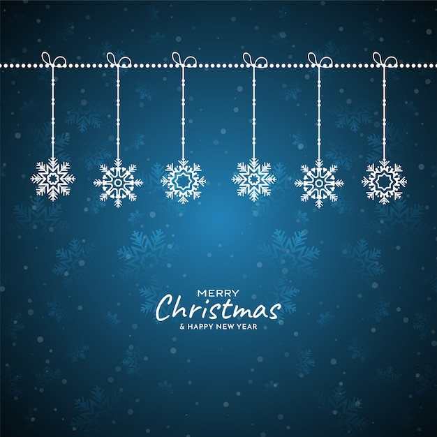 メリークリスマスフェスティバル雪片青い背景 無料ベクター