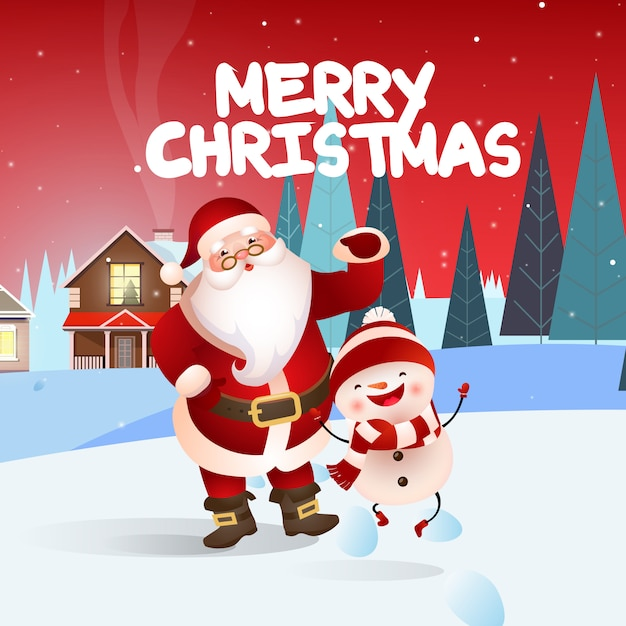 Merry christmas festive banner design with santa and snowman Free Vector