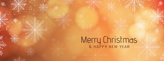 Merry christmas festive banner with snowflakes Free Vector